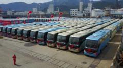 2017中国客车出口沙特第一大单发车——600台安凯A9进军国际高端客运市场